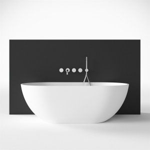 Mood 155 - 155x77 Massiv Matt White SolidTec®